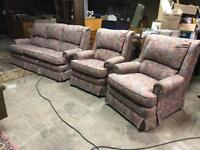 3 piece suite, sofa and 2 arm chairs