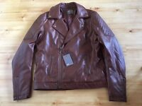 ASOS Faux Leather Biker Jacket In Brown Size M