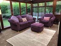 DFS Purple Fabric 3 Piece Suite 2 Seater Sofa + Armchair + Footrest With Modern Feet