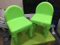 Kids plastic table & 2 chairs