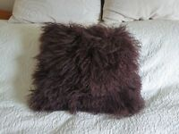 Brown Faux Fur Shaggy Cushion - long hairy effect - very soft feel - 40cm x 40cm - for sofa or bed