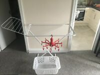 Drying rack (foldable) + hanging dryer + laundry basket