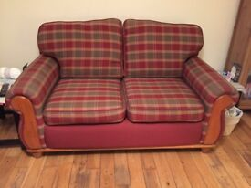 Solid Wooden Frame 2 Seater Sofa & Matching Armchair - Price Reduced