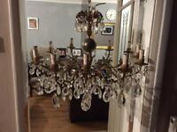 Chandelier antique beautiful 12 lights brass