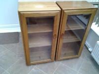 Ercol Windsor Light Elm Glazed Cabinets X2