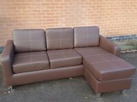 Fabulous Brand New brown leather corner sofa,or 3 seater and footstool. can deliver
