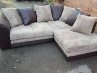 Stunning Brand New brown and beige cord corner sofa. left or right hand. new in the box.can deliver