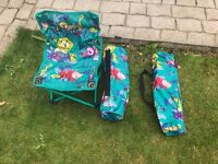 a pair of childrens kids folding camp chairs with carriers