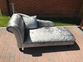 Crushed Velvet Silver Chaise Longue