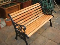 Quality cast Iron Garden Bench with Oak Slats
