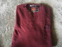 Superdry men's light sweatshirt round neck red Size: XL Used good condition £7