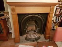 Antique Cast Iron Fireplace and Reproduction Mantlepiece