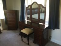 Solid hardwood dressing table, 2 drawer beds lockers, 5 drawer tallboy - used excellent condition