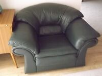 Dark Green Leather Arm Chair with matching Foot Stool