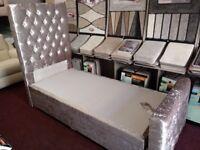 CRUSHED VELVET SINGLE OTTOMAN BED