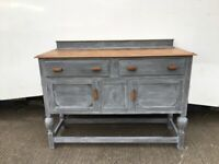 Newly painted antique solid oak sideboard c1920s