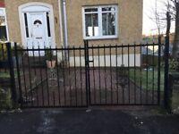 Wrought iron driveway gates.