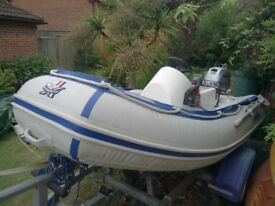 Rhib boat with motor and trailer