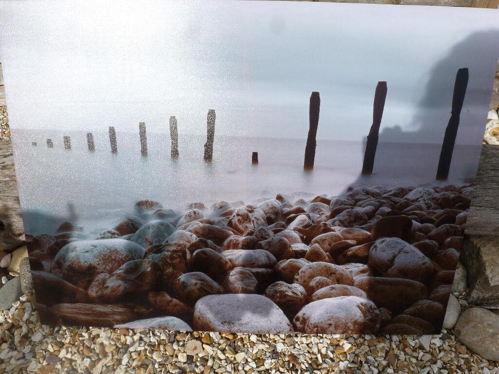 Huge Seascape Stoney Shoreline Coastal Canvas For Sale Home Garden Living Room Paintings Pictures
