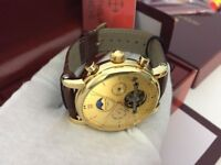 New Swiss Patek Philippe Golden Dial Automatic Watch, See Through back
