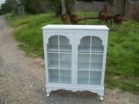 Vintage Painted Shabby Chic Shelves Bookcase Glazed Cupboard Farrow and Ball LEWES COLLECTION