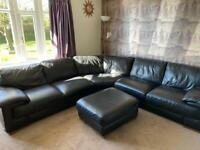 Black leather corner sofa & footstool extra large