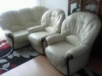 Nice 100% leather sofa and 2 chairs cream color