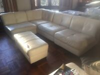 White leather modular corner sofa with chair