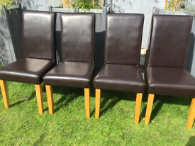 Set of 4 High Back, Dark Brown Leather Dining Room Chairs wood legs sprung seats