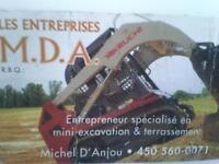 mini excavation - terrassement -paysagement -cabanon-garage