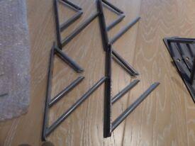 8 metal shelf brackets matte chrome with the shelves approx. 35-40cm long x 25 cm wide