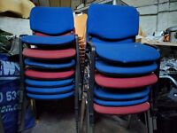 Office chairs 13x red & blue + 6x black leather stylish chairs