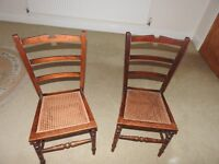 2 x wicker seat bedroom chairs