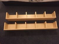 Two IKEA wooden shelves