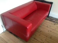 Red Leather Ikea Sofa - USED (reasonable offers will be considered)