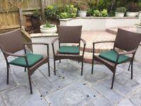 Garden chairs 3, brown rattan effect.
