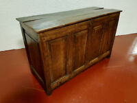 Antique Elm & Oak Coffer Chest Trunk Blanket Box Storage