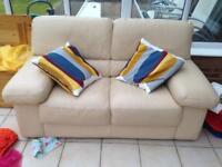 3 good quality cream leather sofas