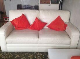 Large Cream 2 Seater Leather Sofa