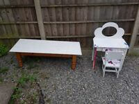 Oak coffee table and kids table and chair
