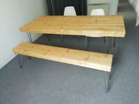 Handmade Large table with hairpin legs + Bench and 4 white ikea chairs