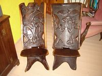 Pair Vintage african birthing chairs