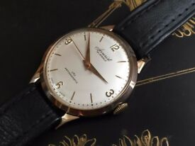 Vintage 9ct 9k 375 solid gold Accurist mens swiss watch