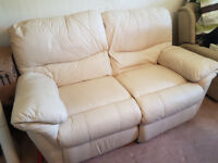 Cream Leather Sofa, recliner, 2 seater, excellent condition, hardly used, smoke free home Gloucester
