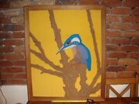 """Textile Art """" Kingfisher """" 37"""" x 30"""" by D m Armstrong."""