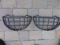 Quality pair of wall mounted plant baskets