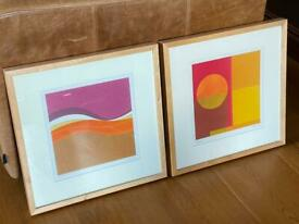 Pair of IKEA 90's Vintage Abstract Wood framed Paintings / prints