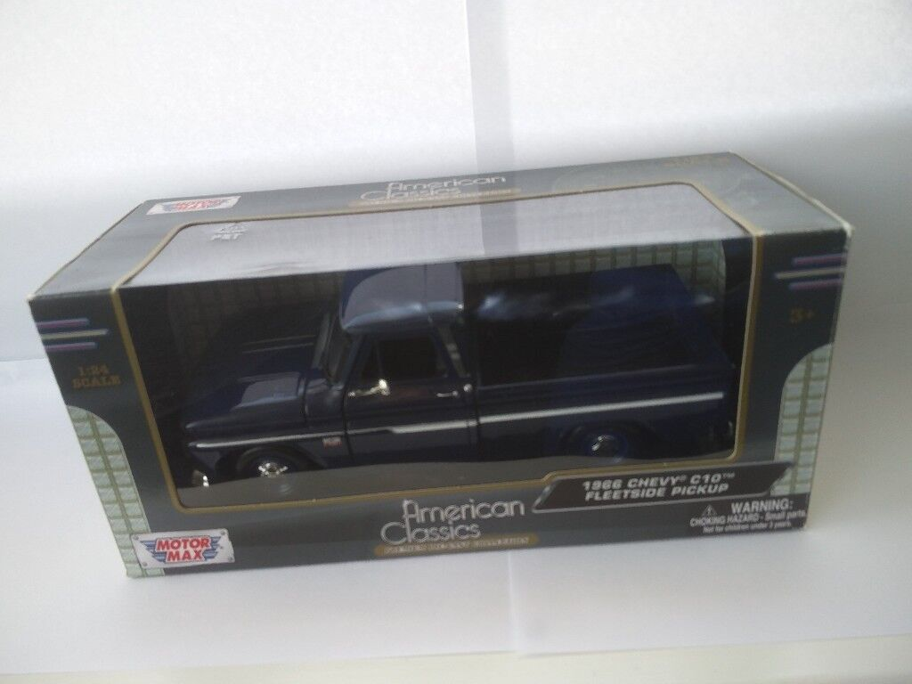 124 Scale Diecast Blue 1966 Chevy C10 Fleetside Pickup By Motormax American Classics