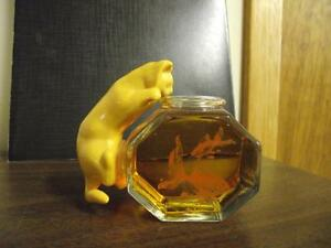 AVON Curious Kitty Cat Fish Bowl decanter