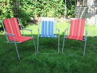 3 x Striped Foldable Garden Chairs £20.00